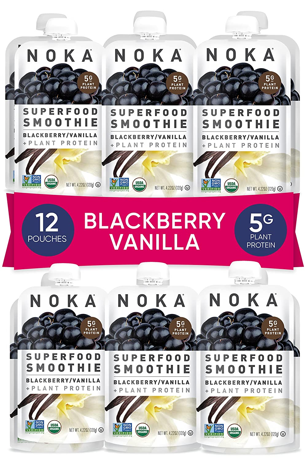 NOKA Superfood Smoothie Pouches (Blackberry Vanilla) 12 Pack, 100% Organic Healthy Fruit Squeeze Snack Packs, Meal Replacement, Non GMO, Gluten Free, Vegan, 5g Plant Protein, 4.2oz Each