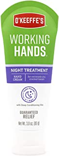 O'Keeffe's Working Hands Night Treatment Hand Cream, 3.0 ounce Tube, (Pack of 1)