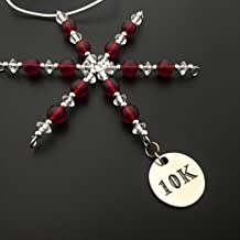 10K Ornament - Beaded Snowflake 10K Christmas Ornament/Gift Tag with Round Pewter 10K Charm with Jewelry Box - Handmade with Red Vintage Beads