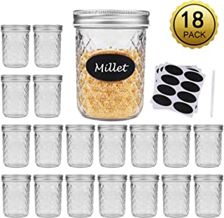 Wide Mouth Mason Jars With Lids, Accguan 15oz Airtight Glass Jars for Food Storage, Clear Mason Jars Ideal for Dry Food, Peanut Butter, Coffee Bean and Jam Storage, Set of 18