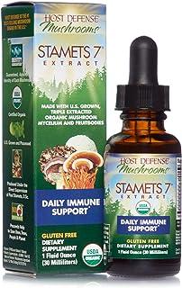 Host Defense, Stamets 7 Extract, Daily Immune Support, Mushroom Supplement with Lion's Mane, Reishi, Vegan, Organic, Glute...