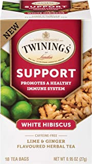 Twinings of London Daily Wellness Tea, Support Healthy Immune System White Hibiscus, Lime & Ginger, Flavore...