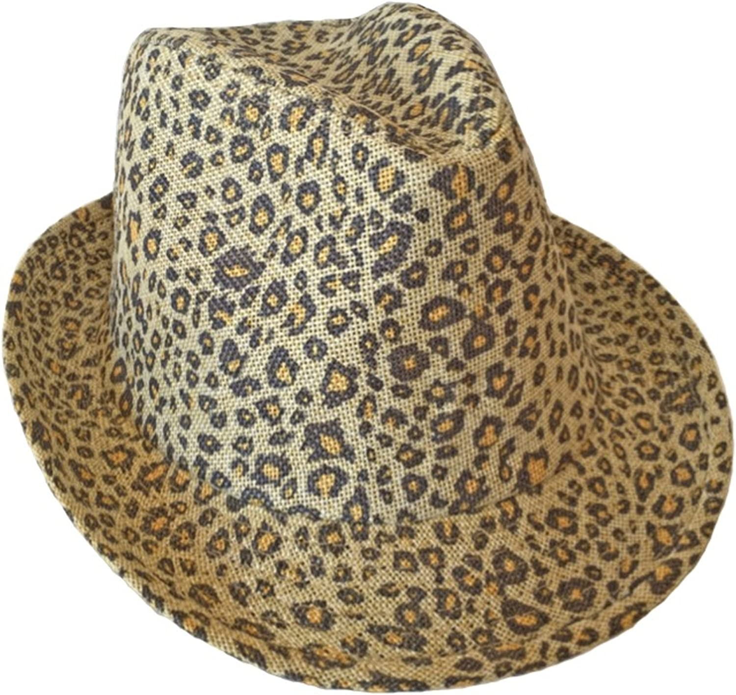 SUPERMAXX Fedora Trilby Crusher Hat with Leopard Printed for Women Beige