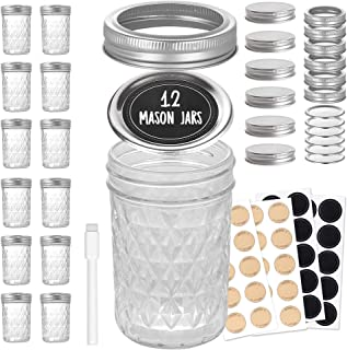 Glass Mason Jars 8 oz - Set of 12 Mason Jars with Lids - Quilted Glass Canning Jars for Jelly, Canning, Jam, Spice, Overni...