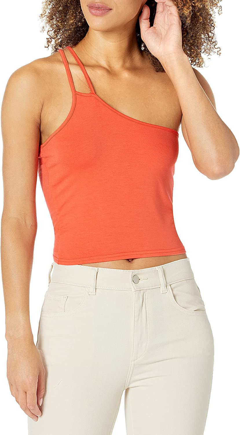 KENDALL + KYLIE Women's Plus Size Crop Top with Asymmetric Straps