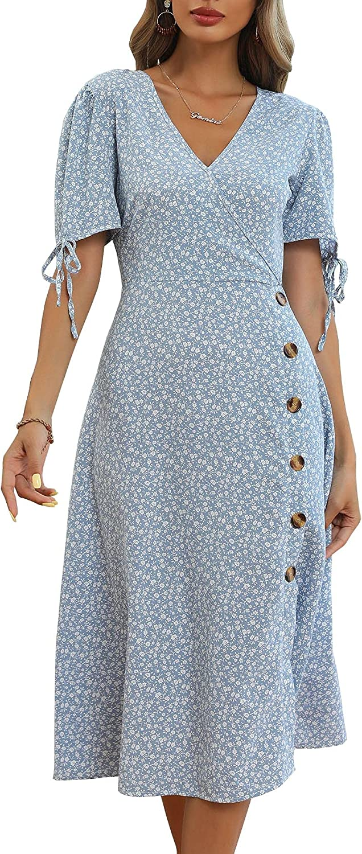 Wellwits Women's Floral Print Slit Midi 1950s Vintage Cocktail Dress