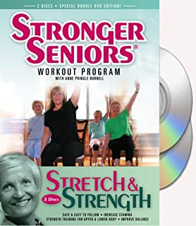 Stronger Seniors® Stretch and Strength Chair Exercise Program- Stretching, Aerobics, Strength Training, and Balance. Improve flexibility, muscle and bone strength, circulation, heart health, and stability. Developed by Anne Pringle Burnell