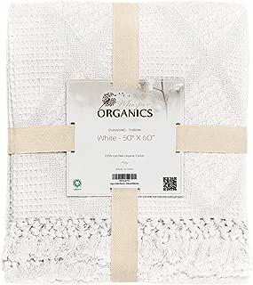 Whisper Organics Organic Cotton Throw Blanket G.O.T.S. Certified, Hypoallergenic (50x60, White)