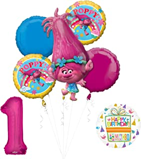 Mayflower Products New Trolls Poppy 1st Birthday Party Supplies and Balloon Bouquet Decorations
