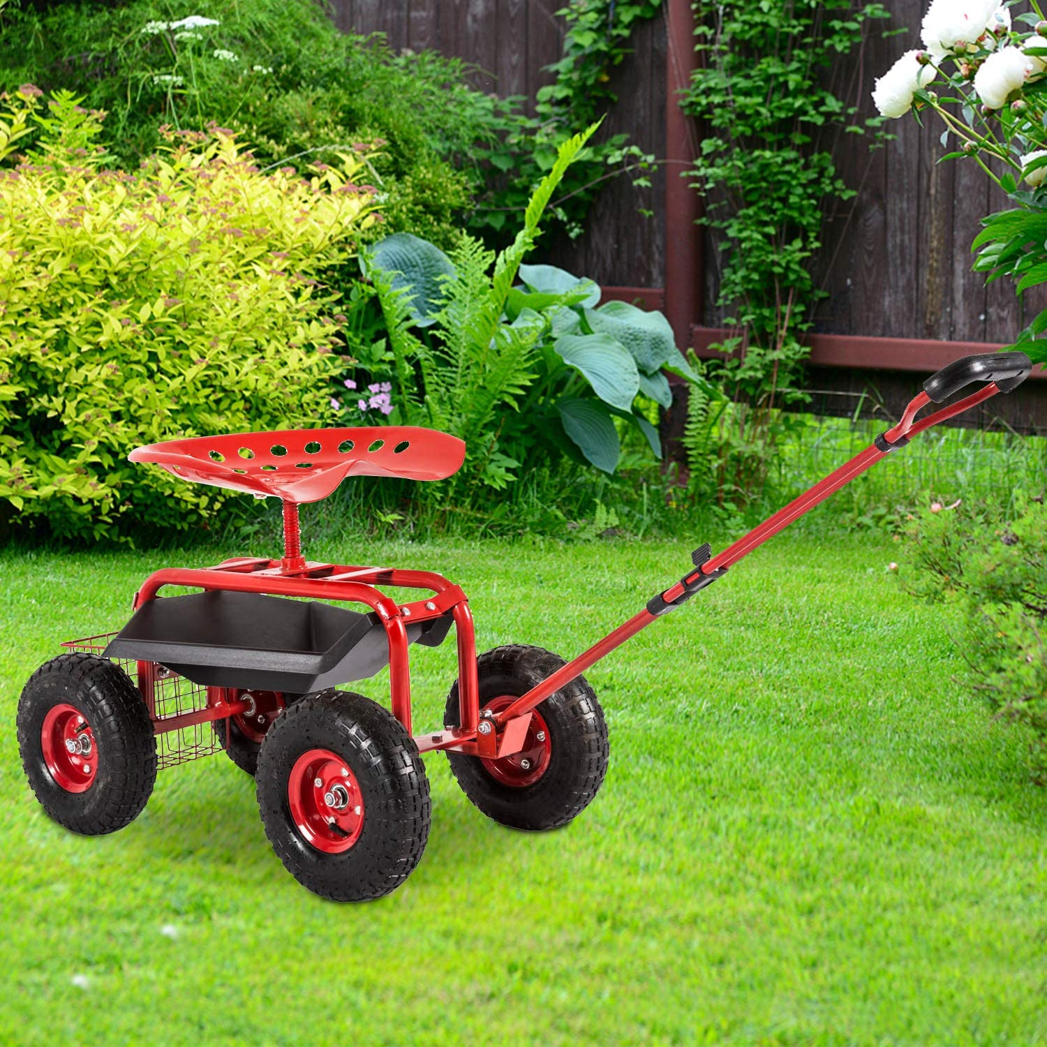 Kinbor Garden Cart Workseat Sales results No. 1 Rolling Extendable Now on sale Stee with Scooter