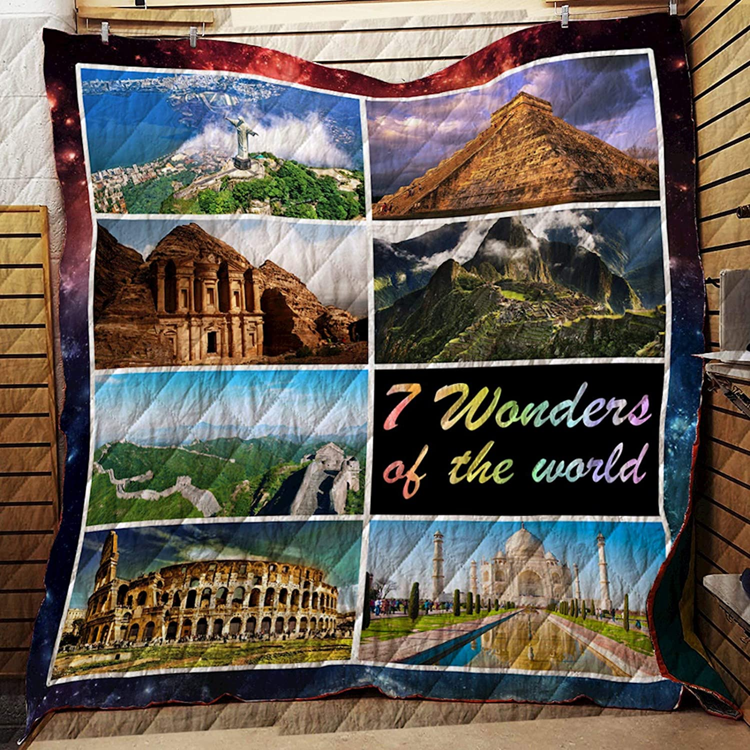 7 Wonders of The World Quilt SS071, Queen All-Season Quilts Comforters with Reversible Cotton King Queen Twin Size - Best Decorative Quilts-Unique Quilted for Gifts