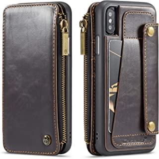 Case Cover for iPhone Xs/iPhone X 5.8inch 2017 Leather with Zipper,Removable Wallet Brown 4 Card Slot(ID Card, Credit Card),Viewing Stand,Full Protection,Accurate Cutouts,Anti-Scratch for Girls Boys