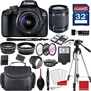 Canon EOS 4000D / Rebel T100 DSLR Camera with 18-55mm f/3.5-5.6 III + Professional Accessory Bundle
