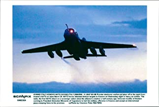 Vintage photo of A USAF EA-6B Prowler electronic warfare jet lifts from Avianos NATO Air Base