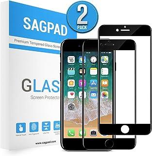 SAGPAD [2 Piezas] Cristal Templado para iPhone 7/8, Cubierta Completa Vidrio Templado 9H Protector Pantalla Premium, Anti-Huella Digital, Anti-Burbujas par 8/7 (Negro)