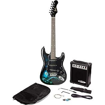 RockJam Hades Paquete de guitarra eléctrica con amplificador de guitarra, Bolsa Cuerdas púas, Correa de guitarra principal: Amazon.es: Instrumentos musicales