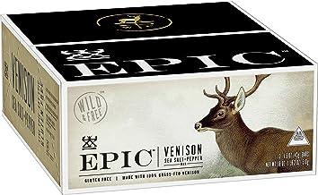 Epic All Natural Meat Bar 100% Grass Fed, Venison, Sea Salt & Pepper, 1.5 ounce bar, 12 Count