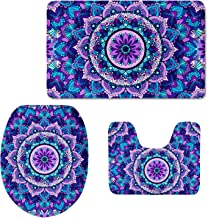 Xhuibop Mandala Lotus Toilet Seat Cover Bathroom Rug and Mats Set 3 Picece Fashion Pedestal Rug for Toilet Lid Cover Pads ...
