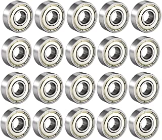 uxcell 608ZZ Deep Groove Ball Bearing Double Shield 608-2Z 80018, 8mm x 22mm x 7mm Carbon Steel Bearings Pack of 20
