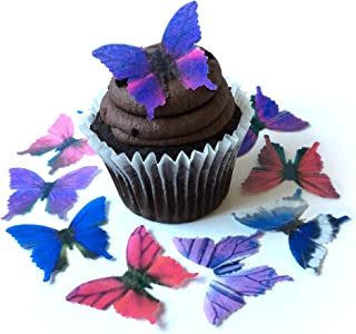 Assorted Purple Pink Blue Wafer Paper Butterflies 1.75 Inch for Decorating Desserts Pack of 12