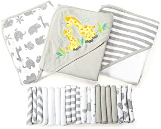 Spasilk 23-Piece Essential Baby Bath Gift Set – Hooded Baby Towels & Washcloths – Newborn Boy or Girl –