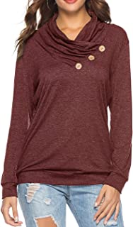 Sipaya Women's Long Sleeve T Shirts Solid Color Cowl Neck Button Tunic Top S-2XL