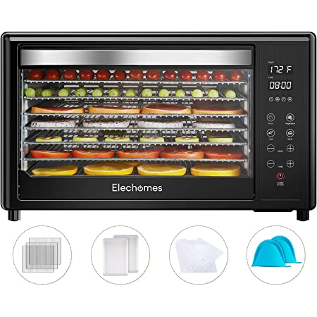 Food Dehydrator Machine, Elechomes 8-Tray Commercial Dehydrators with Free Accessories, 4 Presets for Fruit Meat Beef Jerky Herbs Vegetables, Timer Temperature Control, 50 PDF Recipes, BPA Free