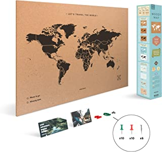 Miss Wood Map XL - Mapa del mundo de corcho, 60 x 90 cm, Negro