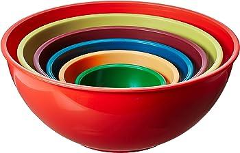 Gourmet Home 6 Piece Nested Polypropylene Mixing Bowl Set