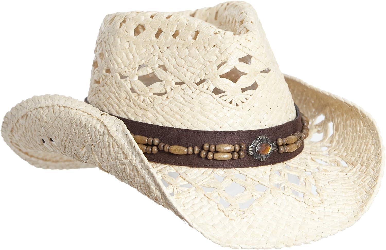Vamuss Straw Cowboy Hat W/Vegan Leather Band & Beads, Shapeable Brim, Beach Cowgirl