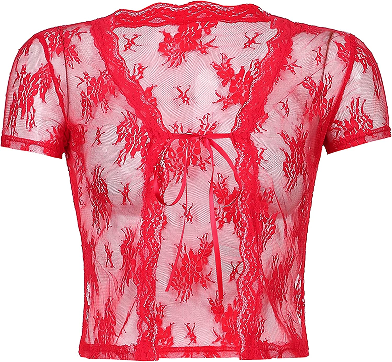 Springrain Womens Short Sleeve Lace Cardigan Tie Front Sheer Shrug Cropped Shirt