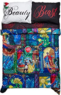 DISNEY BEAUTY AND THE BEAST STAINED GLASS FULL/QUEEN COMFORTER WITH PILLOWCASES