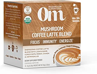 Om Mushroom Superfood Organic Coffee Latte Mushroom Powder 10 Count, 0.21 OZ