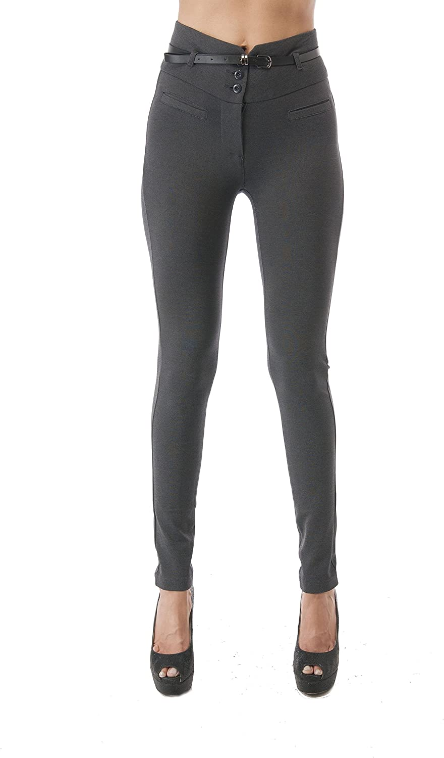 Hollywood Star Fashion High Waisted Long Skinny Pants With Belt