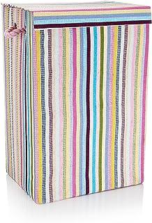 Minky à Rayures Panier à Linge, Tissu, Multicolore, 40x 30x 60cm