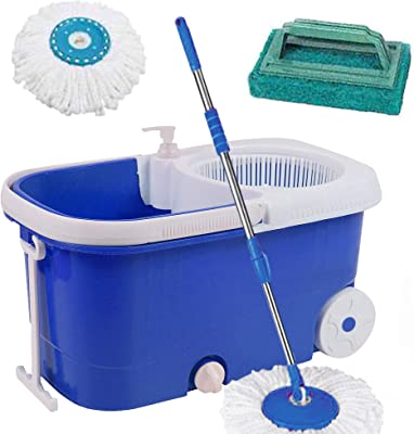 V-Mop Elite Plastic Magic Bucket Mop with Wheel + 2 Microfibers + 1 Tile Cleaner((Made in India))