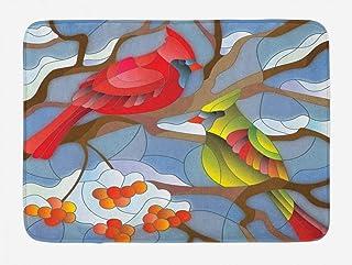 Lunarable Cardinal Bath Mat, Stained Glass Style North American Mountain Birds Sitting on a Rowan Tree Branch, Plush Bathr...