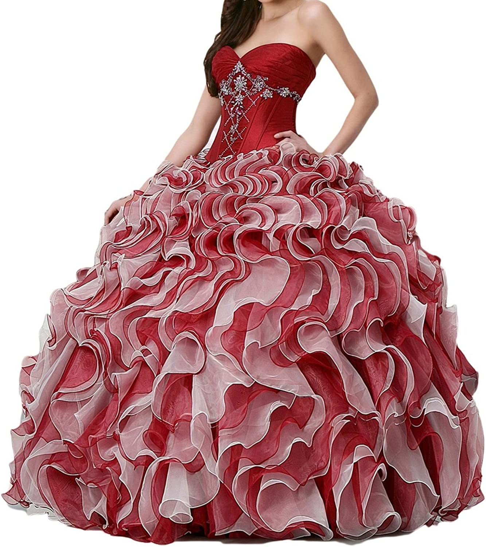 Zhu Li Ya Women's Beaded Long Ball Gown Pageant Prom Quinceanera Dresses