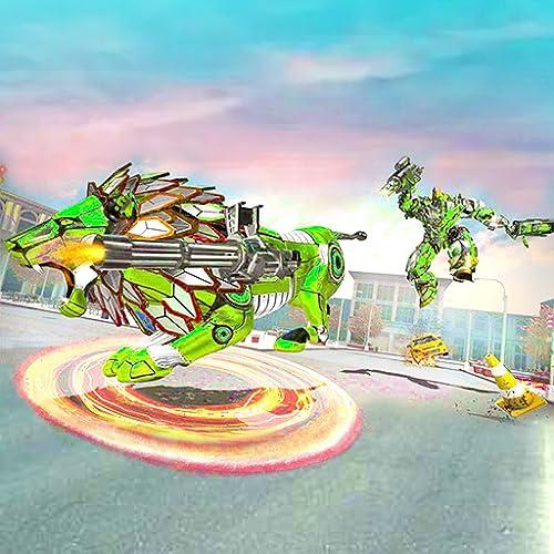 Simulador de Ataque de Robô Leão Furioso - Jogos 3D de Tiro de Robô Leão - Jogos de Simulação de Transformação de Robô Leão Selvagem 2020