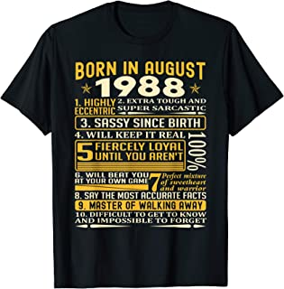 Born in August 1988 facts t shirts for men, women