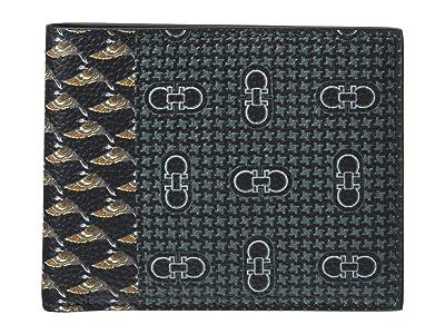 Salvatore Ferragamo Leather Print Bifold Wallet 66A576 (Black) Handbags
