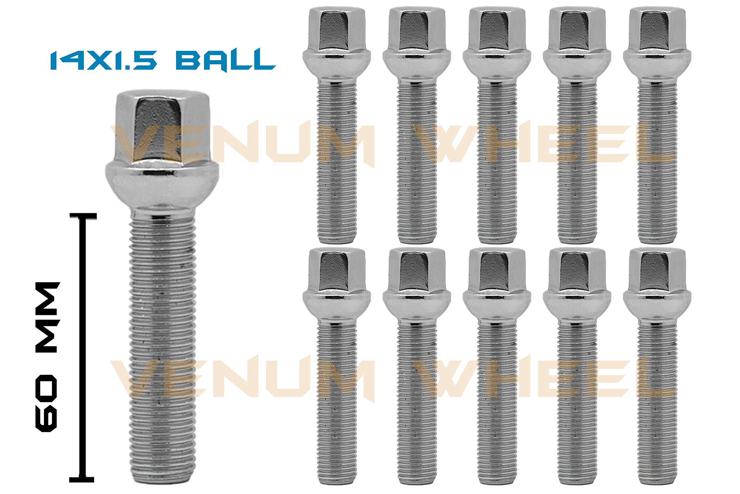 14x1.25 Threads 40mm Shank Length Cone Seat 10pc Black Extended Lug Bolts