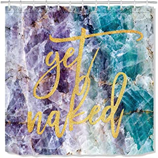 LB Get Naked Shower Curtain Funny Font with Hooks,Crystal Mineral Purple Blue Marble Bathroom Curtains Fashion Popular Style 72x72 inch Waterproof Polyester Fabric,Gold Orange Yellow