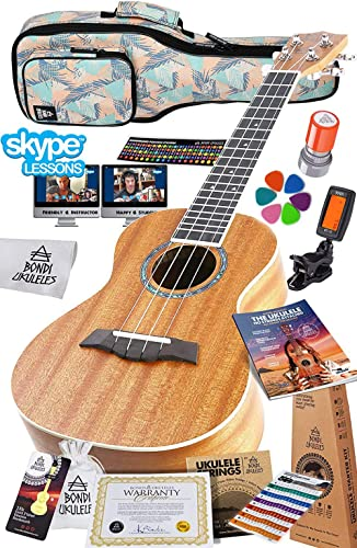 (Concert) - Ukulele Starter Kit (15-FREE-Bonuses) Mahogany Uke, Compression Sponge Case, Aquila Strings, Felt Picks, ...