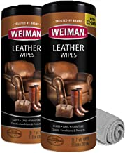 Weiman Leather Cleaner Wipes – 2 Pack with Microfiber Cloth – Clean Condition..