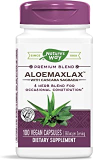 Nature's Way AloeMaxLax with Cascara Sagrada for Occasional Constipation, 4 Herb Blend, 100 Capsules