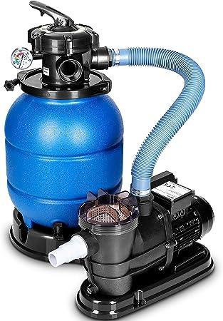 Oferta amazon: tillvex Depuradora Azul de Agua para Piscina 10 m³/h - 5 Funciones de Filtrado - Bomba de Filtro de Arena con Válvula