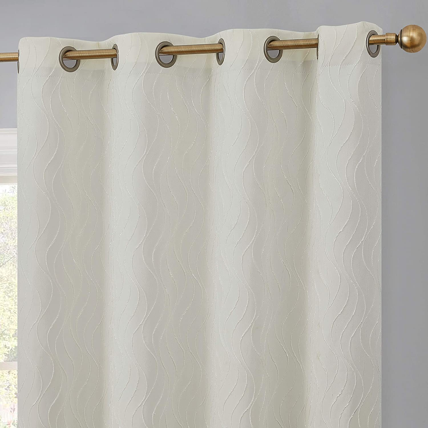 HLC.ME Camden 100% Complete Blackout Thermal Insulated Window Curtain Grommet Panels - Energy Efficient & Noise Reducing - Great for Living Room & Bedroom - Set of 2 (50  W x 108  L, Ivory)