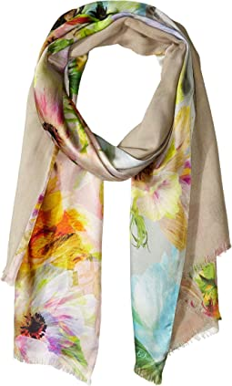 Digital Floral Double-Faced Silk Wrap