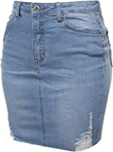 Awesome21 Women's Casual High-Rise Washed Denim Mini Skirt